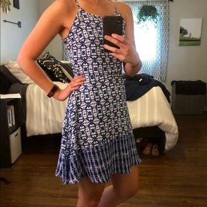 Dress, Blue & White Patterned